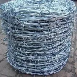 Silver Galvanized Iron 4mm Barbed Wire