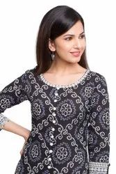 Yash Gallery Women's Cotton Bandhej Print Anarkali Kurta