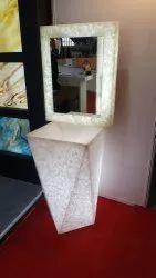 White Onyx Pedestal Wash Basin for Bathroom