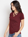 Ladies V Neck Maroon T-Shirt