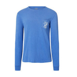 Cotton Full Sleeves Blue T Shirt, Size: S-XXL
