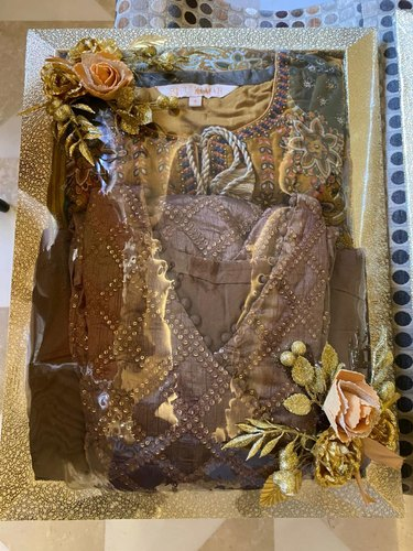 Dark Brown Rectangle Wedding Trousseau Packing