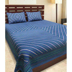 Blue Designer Printed Double Bed Sheet