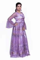 Light Purple Satin Fancy Gown