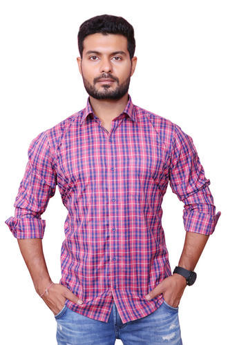 d07192a1376 Light Red Full Mens Cotton Formal Check Shirt