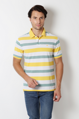 533136dfd248 Yellow 52% Cotton And 48% Polyester Peter England T Shirt