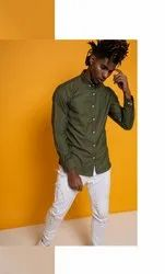 Solid Olive Oxford Full Sleeve Men Casual Cotton Shirt