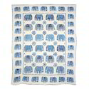 Indigo Elephant Patch Work Handmade Bedspread
