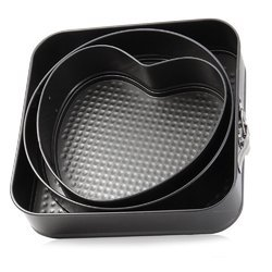 3 Set Non-Stick Springform Cake Pan Kitchen Bakeware Metal Mould Cupcake Baking Tray