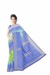 Green And Blue Color Checks Design Banarasi Georgette Saree