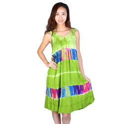 Sleeveless Long Green Batik Dress
