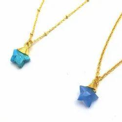 Semi Precious Gemstone Wire Wrapped Star Shape Pendant Necklace