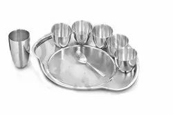 Stainless Steel Traditional Dinner Set of Thali Plate, Bowls, Tumbler and Spoon