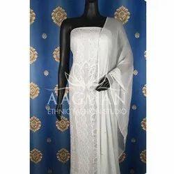 Aagman Casual Wear Ladies White Chikan Suit