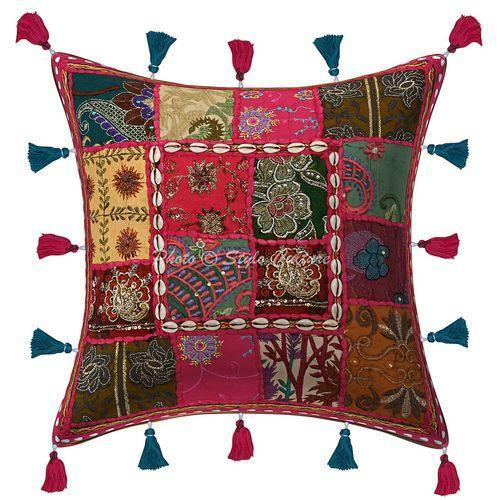 Pink 100 Cotton Patchwork Cushion Cover Size 16 X 16 Inches 40