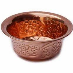 Golden Round Copper Bowl
