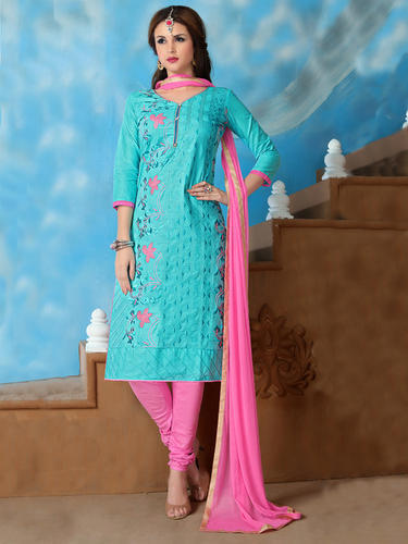34203455269 Embroidered Regular Wear Sky Blue Cotton Dress Material