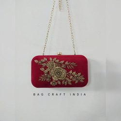 Embroided Metal Box Clutch