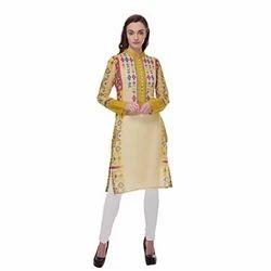 Full Sleeve Printed Pashmina Kurti, Size: S-XL
