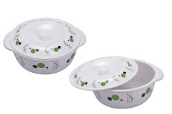 Mehul Crockery Polka Dot Design Melamine Serving/Casserole With Lid Set (Green)
