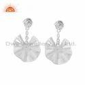 Wavy Disc Design Sterling Silver Black Onyx Gemstone Earrings Jewelry