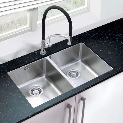 Single Silver Double Bowl Kitchen Sink Size 1 5x1 5 Feet Rs 4300 Unit Id 21088923912