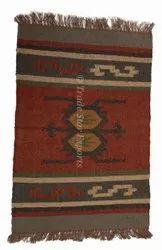 Indian Handwoven Jute Wool Kilim Doormat Carpet Handmade Rectangular Kilim Rug