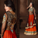 Georgette Orange Black Suit
