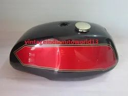 New Triumph T140 Black And Cherry Painted Petrol Tank (Uk Version) With Brass Cap And Tap