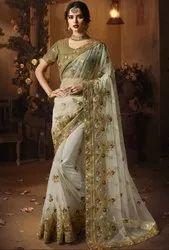 Pearl White Designer Net Saree