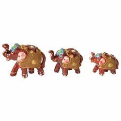 Meena Elephant With Golden Work