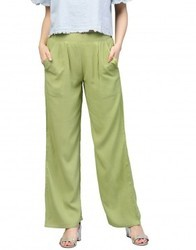 Women's Green Solid Rayon Palazzo