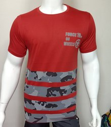 Mens Round Neck T Shirt with Front Print