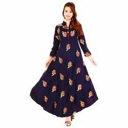 Party Wear Anarkali Fancy Printed Rayon Kurti, Size: S-XXL