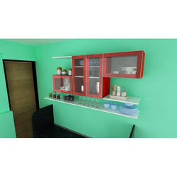 Wooden And Glass Decorative Kitchen Cabinet