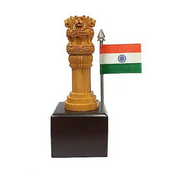 Wooden Ashoka Pillar With Indian Flag