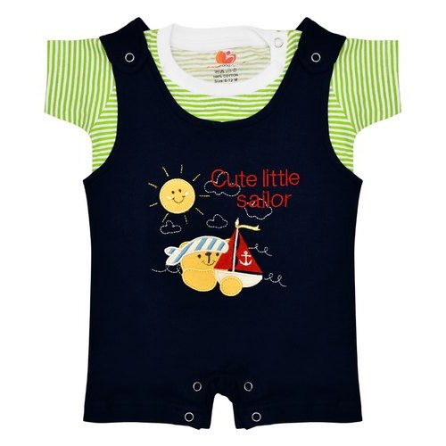 Black And Green Orange and Orchid Boys Striped Cotton Blend Dungarees
