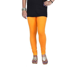 a013db483335ae Sassy Curves Golden Yellow Cotton Lycra V-Cut Churidar Leggings, Size: Free  Size