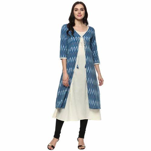 5732b14b07 Cotton Printed Handloom Layered Shrug Kurti, Size: S-XL, Rs 690 ...