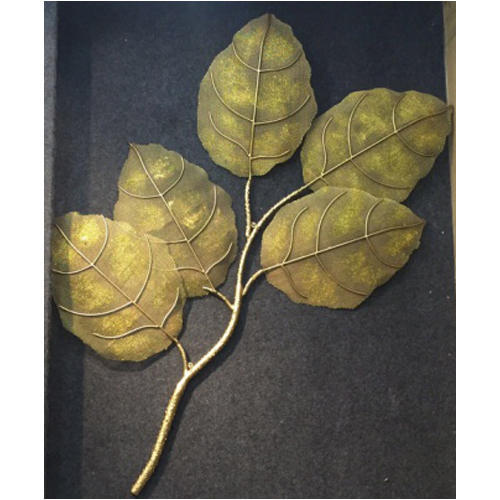 Leaf wall art in jali with gold glitter