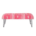 Cotton Embroidered Rug Upholstered Metal Bench