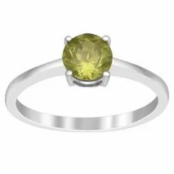 1.20 Ctw Peridot Gemstone 925 Sterling Silver Solitaire Stacking Ring