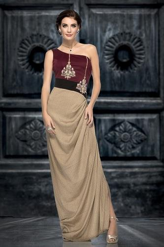 Ethnic Satin Designer Evening Gowns For Reception,