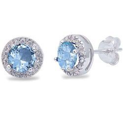CZ Studded Sky Blue Stone Silver Earrings