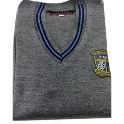 V Neck Grey School Sweater