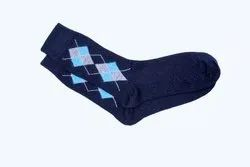 Men Dark Blue Long Woolen Socks