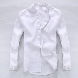 Casual Wear Plain Mens White Shirt, Machine wash