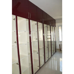 Cromatica Wood,Glass Bookshelves Wardrobe With Glass Doors, For Library, Size: 8-10 Feet
