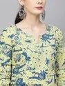 Yellow & Blue Printed A-Line Kurta With Pant Set
