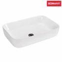 White Ceramic Somany Enzo Top Table Basin, For Bathroom